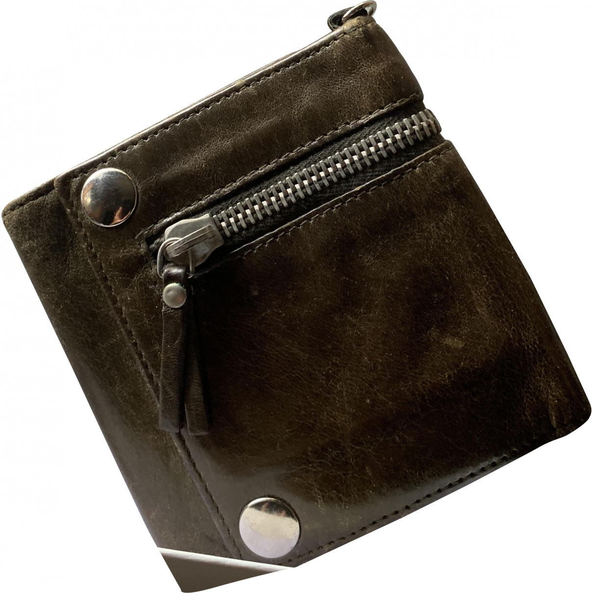 Balenciaga \N Khaki Leather Small bag, wallet & cases for Men \N