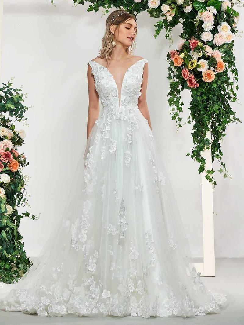 Ericdress 3D Floral Appliuqes Backless Wedding Dress