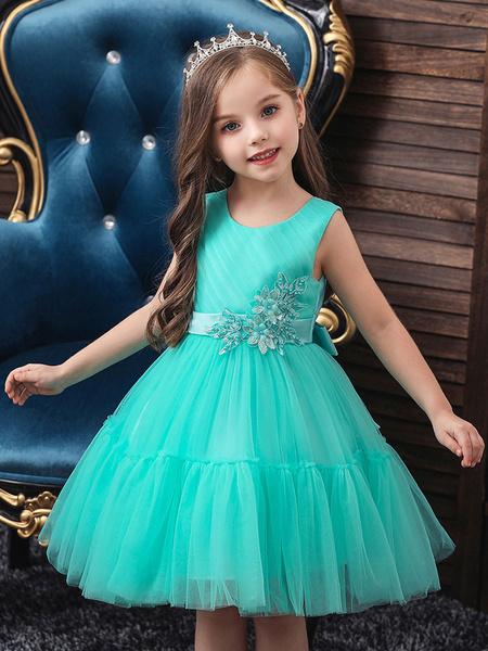 Milanoo Vestidos para niña de arras Cuello joya Poliester Sin mangas Hasta la rodilla Silueta de princesa Lazos Vestidos de fiesta para niños
