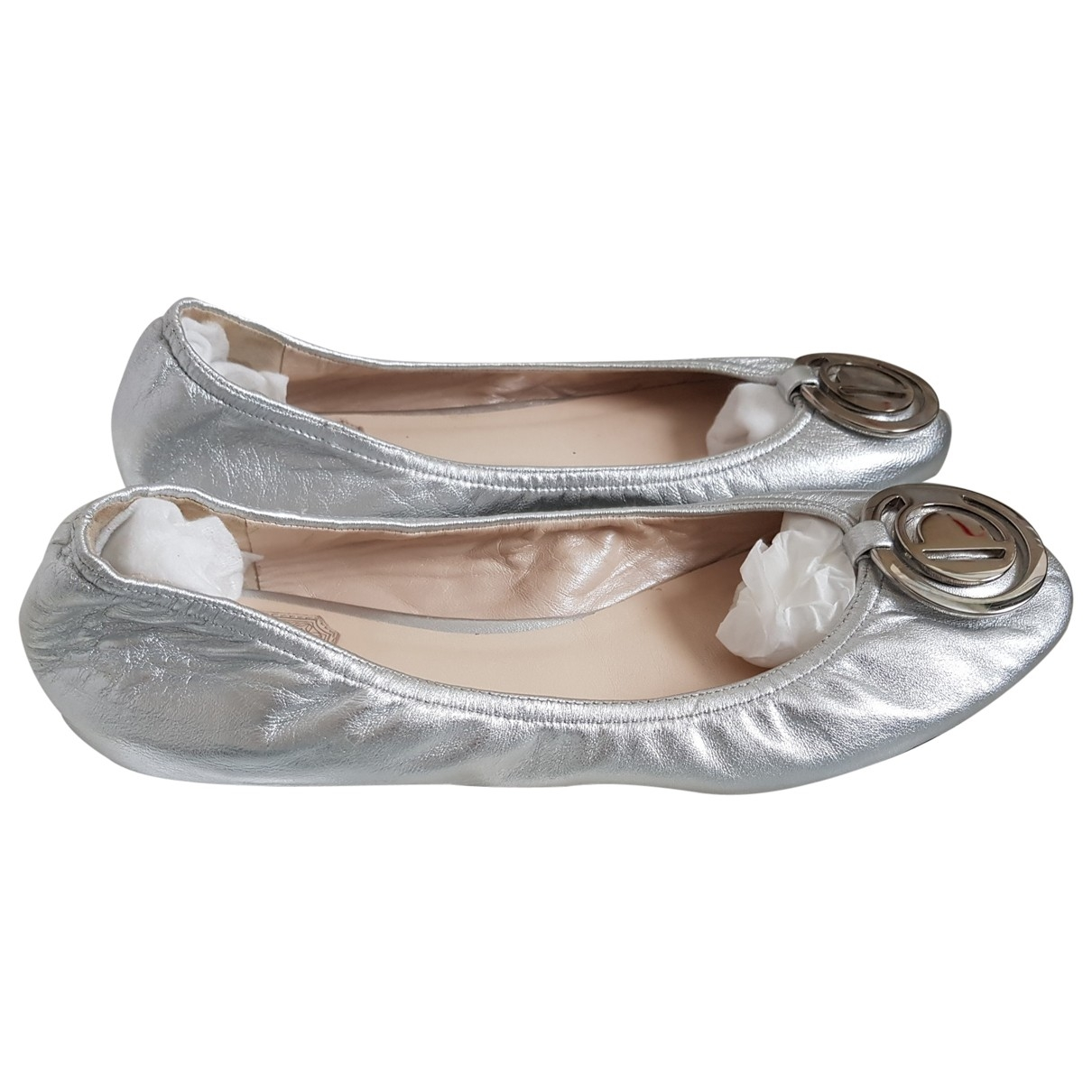 Dior \N Ballerinas in  Silber Leder