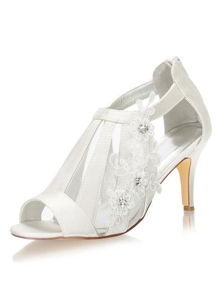 Milanoo Wedding Shoes Peep Toe Sandals Stiletto Heel Bridal Shoes