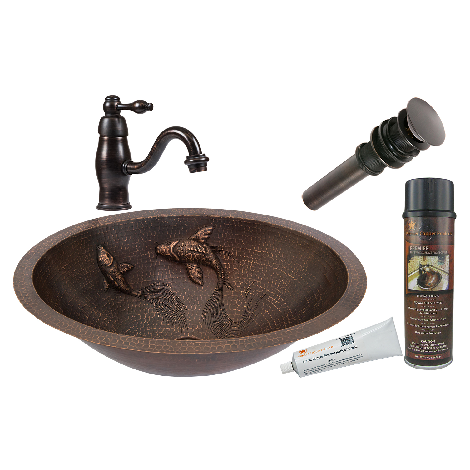 Oval Under Counter Hammered Copper Koi Bathroom Sink, Faucet and Accessories Package, Oil Rubbed Bronze