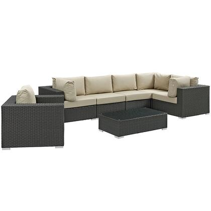 Sojourn Collection EEI-1878-CHC-BEI-SET 7 PC Outdoor Patio Sectional Set with Sunbrella  Fabric  Powder Coated Aluminum Frame and Synthetic Rattan