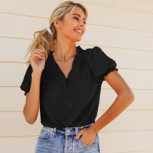 Puff Sleeve Frill Trim Buttoned Front Top