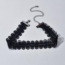 Halsband mit Kontrast Spitze