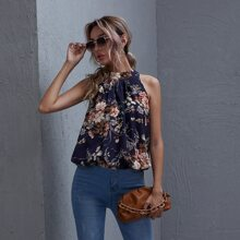 Fold Pleated Floral Print Top