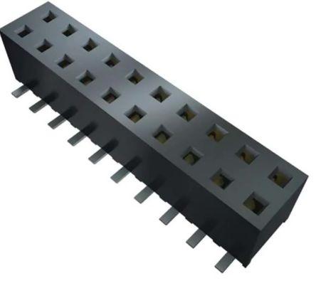 Samtec , MMS 2mm Pitch 24 Way 2 Row Straight PCB Socket, Through Hole, Solder Termination (23)