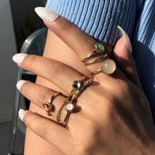 8 piezas anillo con diseño de piedra preciosa