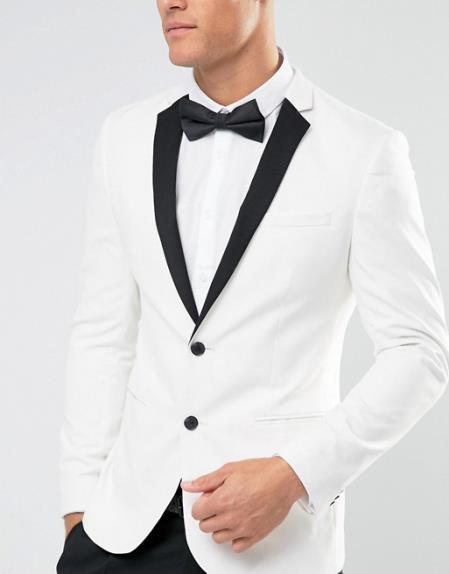 Men's New Look 2 Button White Notch Lapel Regular Fit Tuxedo Jacket