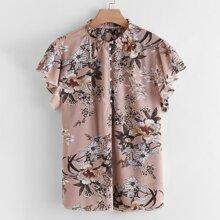 Bluse mit Blumen Muster und Knopfen vorn