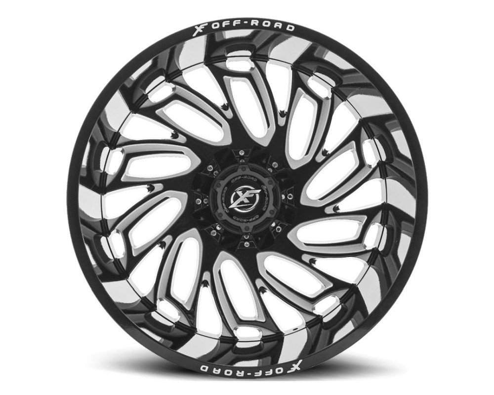 XF Off-Road XF-207 Wheel 20x10 5x127|5x139.7 -12mm Gloss Black w/ Milled Window