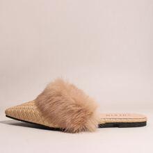 Braided Faux Fur Decor Mules