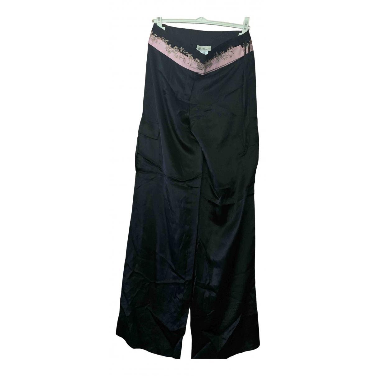 Blumarine N Black Silk Trousers for Women 44 IT