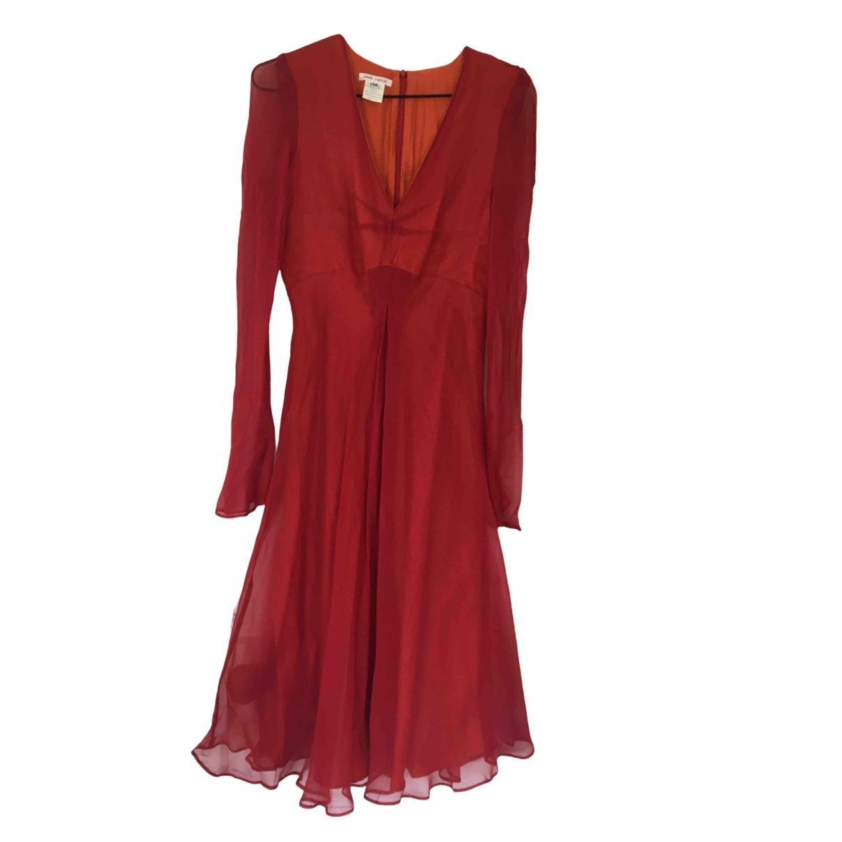 Non Signe / Unsigned Hippie Chic Kleid in  Rot Seide