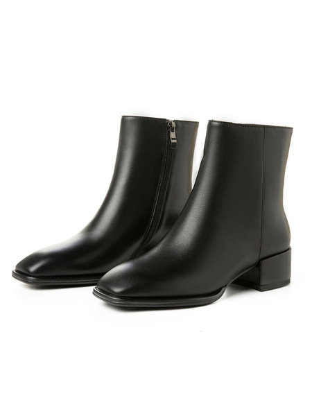 Milanoo Women\s Leather Ankle Boots Black Cowhide Square Toe Low Block Heel 1.6 Booties