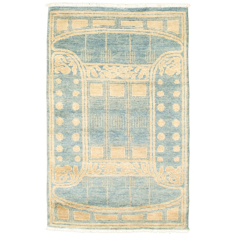 ECARPETGALLERY Hand-knotted Pak Finest Transitional Turquoise Wool Rug - 3'2 x 4'10 (3'2 x 4'10 - Turquoise)