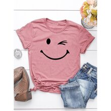 Camisetas de Tallas grandes Dibujos animados Rosa vieja Casual