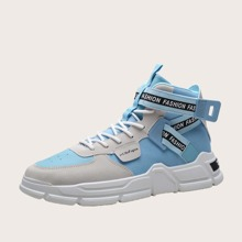 Men Letter Graphic Lace-up Front High Top Sneakers