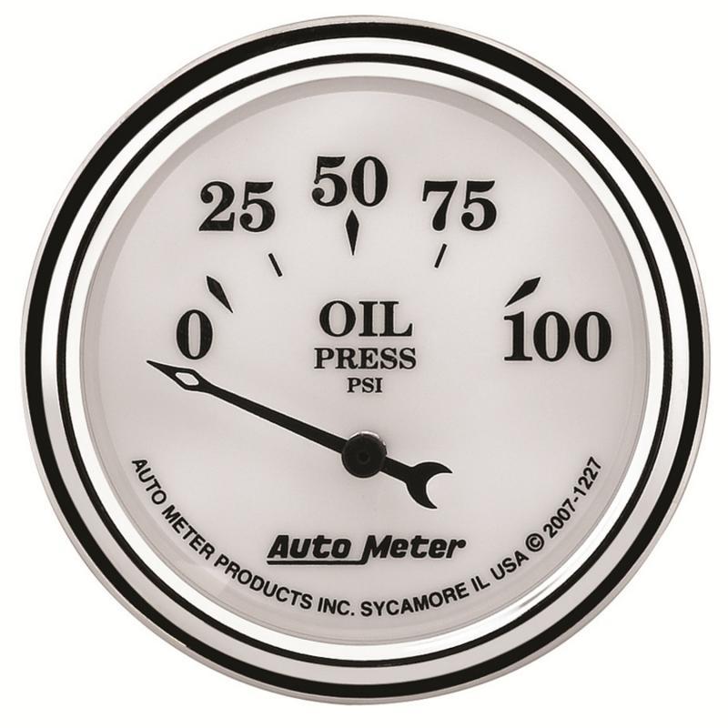 AutoMeter GAUGE; OIL PRESS; 2 1/16in.; 100PSI; ELEC; OLD TYME WHITE II