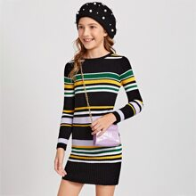 Girls Striped Bodycon Sweater Dress