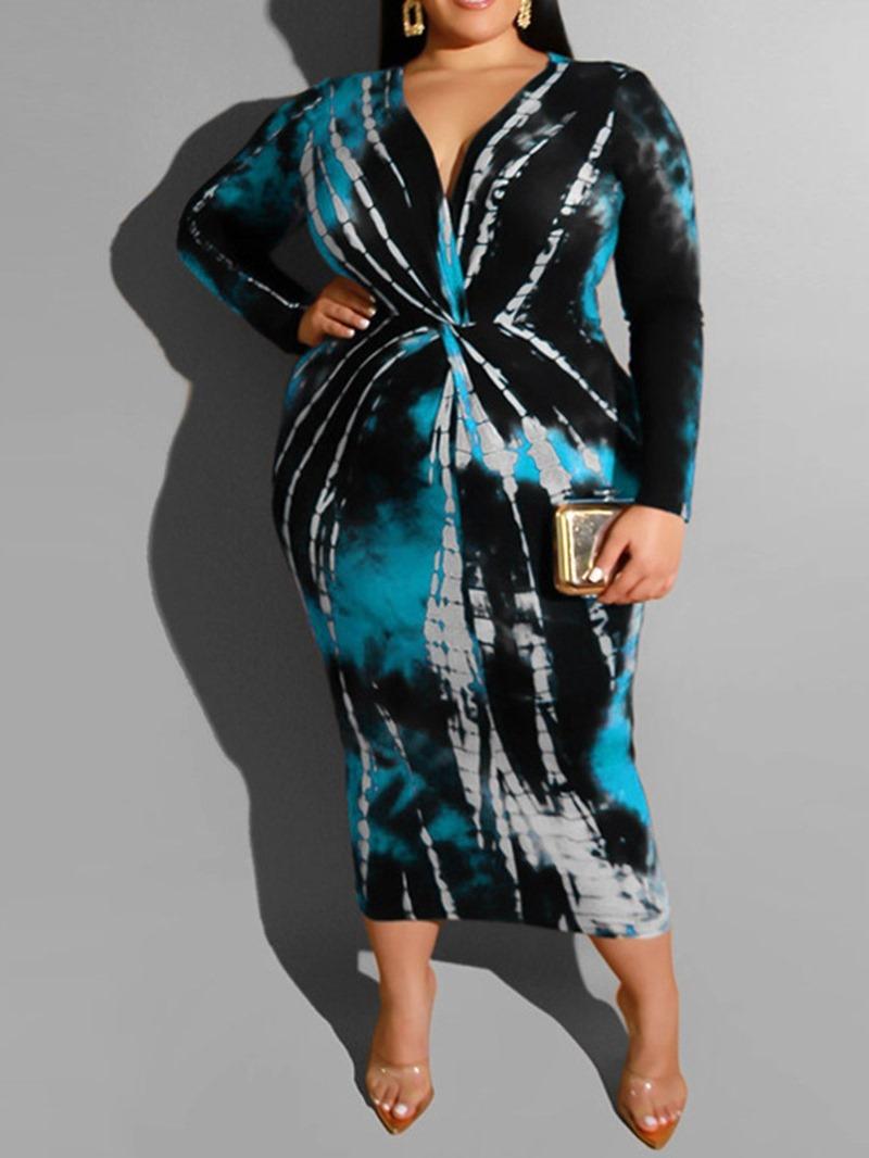 Ericdress Plus Size Long Sleeve V-Neck Mid-Calf Mid Waist Spring Dress