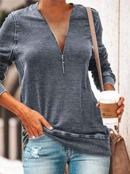 Yoins Zip Design Long Sleeves Tee