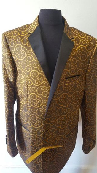 Floral Sportcoat Shiny Fashion Blazer Men Khaki Dinner Jacket Tuxedo