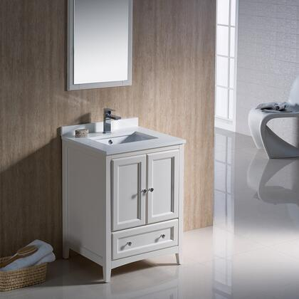 Oxford Collection FVN2024AW 24 Traditional Bathroom Vanity with 2 Soft Close Doors  Soft Close Dovetail Drawer and Tapered Legs in Antique