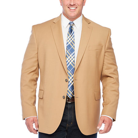 Stafford Mens Hopsack Classic Fit Blazer - Big and Tall, 54 Big Regular, Brown