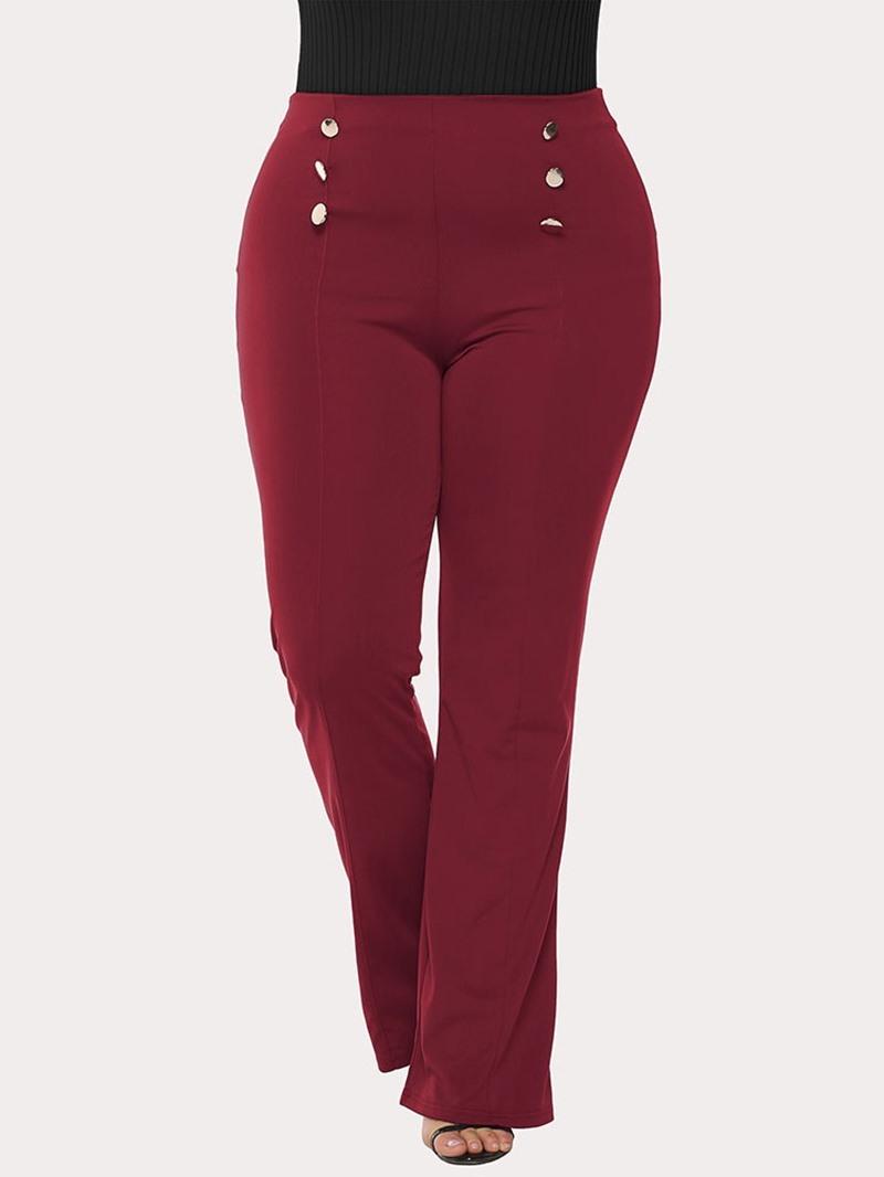 Ericdress Plus Size Plain Loose Button High Waist Straight Casual Pants