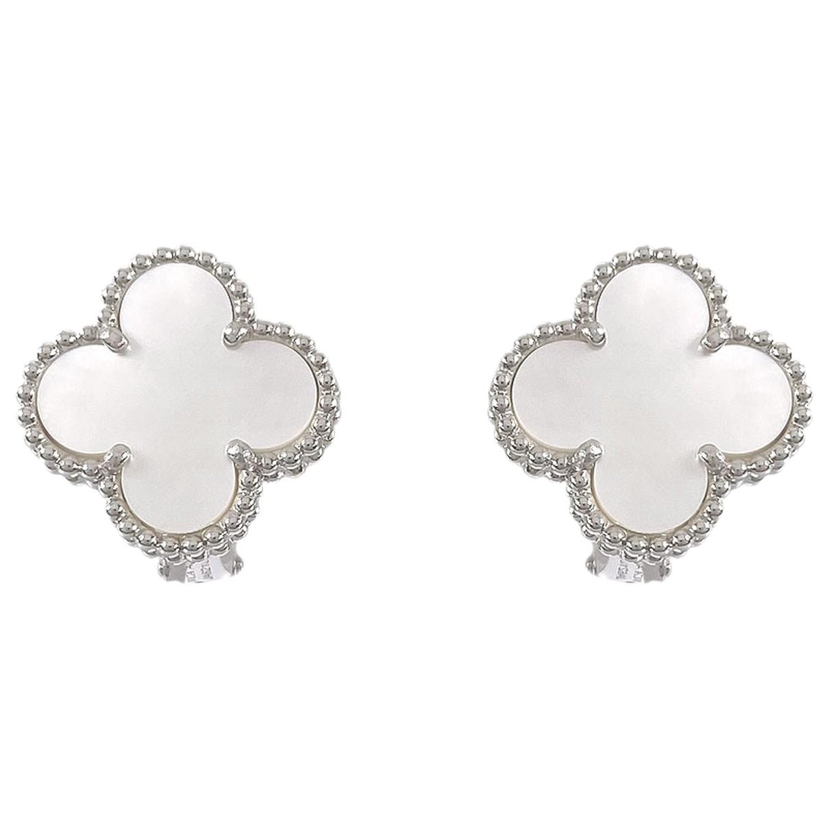Van Cleef & Arpels Vintage Alhambra OhrRing in  Silber Weissgold