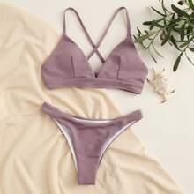 Textured Crisscross Tie Back Bikini Swimsuit