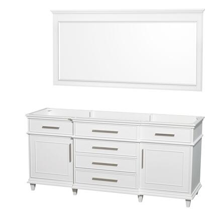 WCV171772DWHCXSXXM70 72 in. Double Bathroom Vanity in White with No Countertop and No Sinks and 70 in.