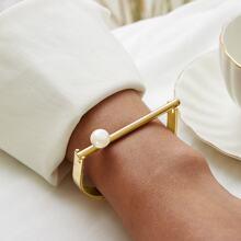 Faux Pearl Decor Bracelet 1pc