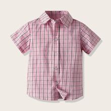 Kleinkind Jungen Hemd mit Karo Muster und Knopfen