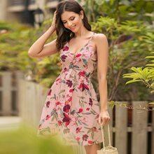 Kleid mit V Ausschnitt vorn, Kreuzgurt hinten und Blumen Muster