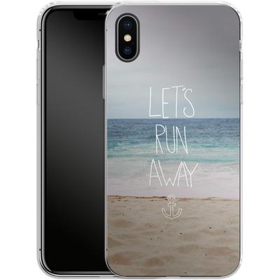 Apple iPhone X Silikon Handyhuelle - Lets Run Away - Sandy Beach von Leah Flores