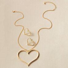 3 Stuecke Halskette mit Hohlen, Herzen Anhaenger & Ohrringe