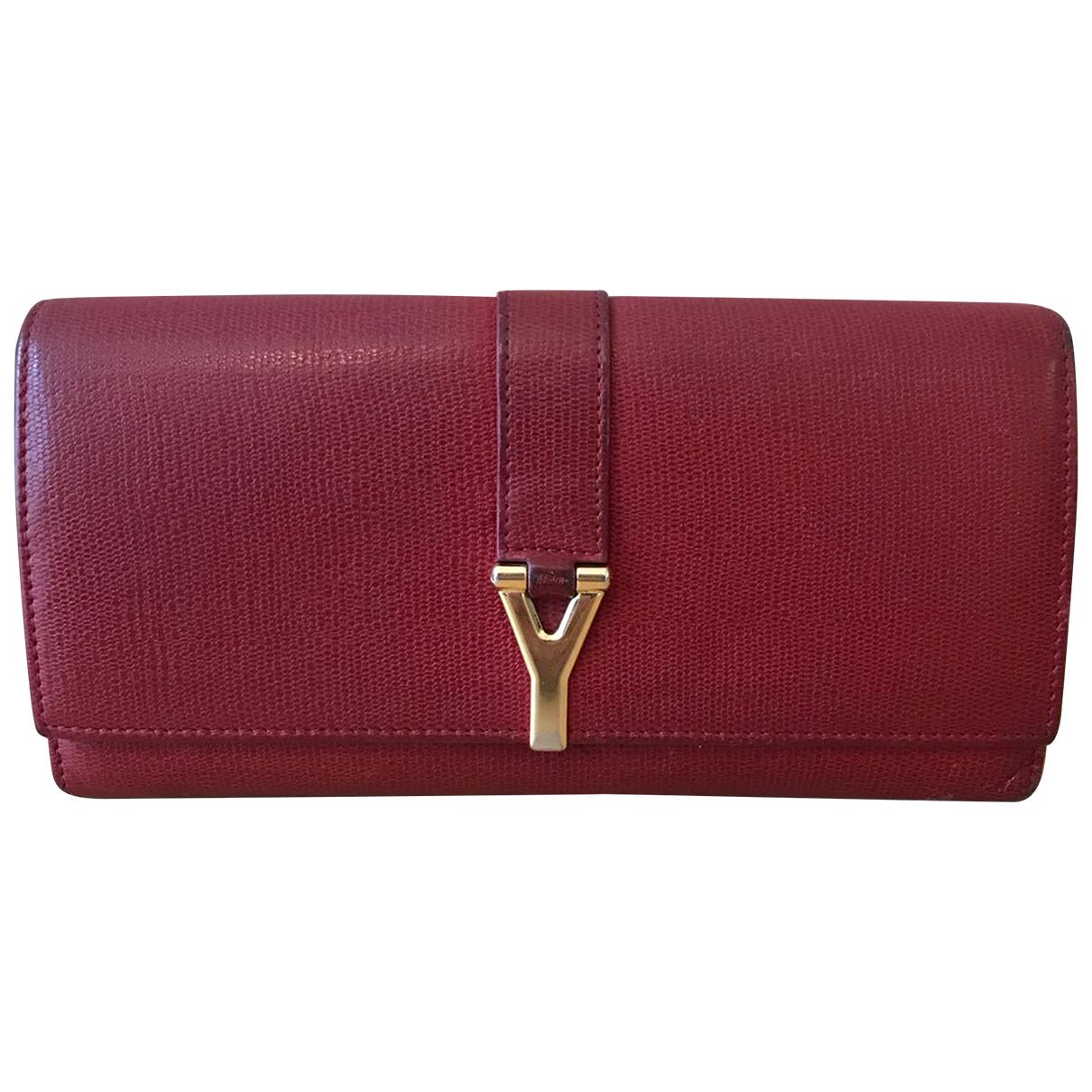 Yves Saint Laurent \N Portemonnaie in  Rot Leder