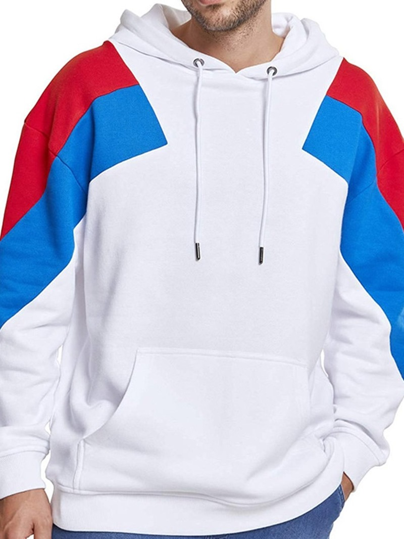 Ericdress Color Block Fleece Pullover Casual Men's Hoodies