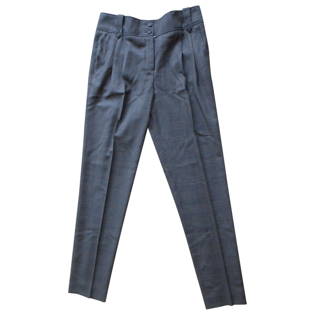 Dior \N Grey Wool Trousers for Women 42 FR