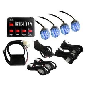 Recon Truck Accessories 26419BL 36-Watt 4-Bulb Professional-Grade LED Blue Strobe Light Kit