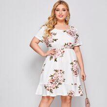 Kleid mit Blumen Muster und Rueschen