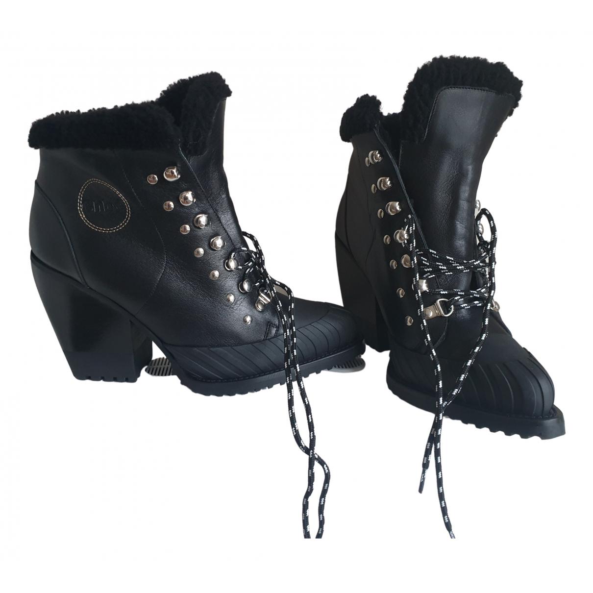 Chloe \N Stiefeletten in  Schwarz Leder