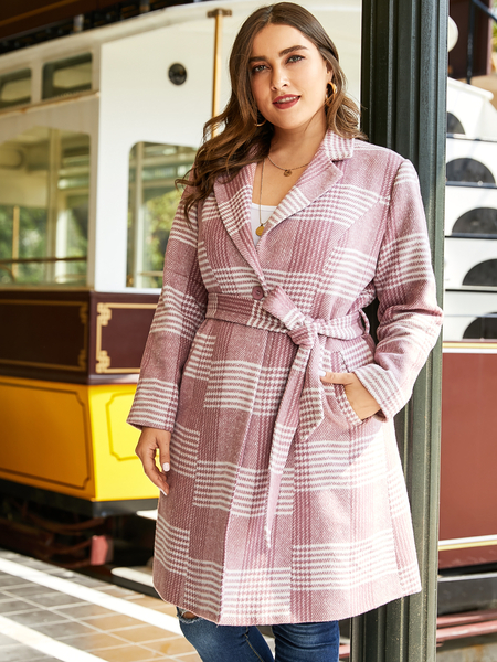 YOINS Plus Size Pink Plaid With Belt Notch Collar Trench Coat