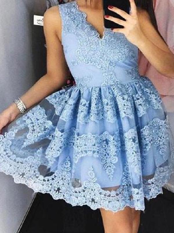 Ericdress A-Line Appliques Sleeveless Mini Cocktail Dress