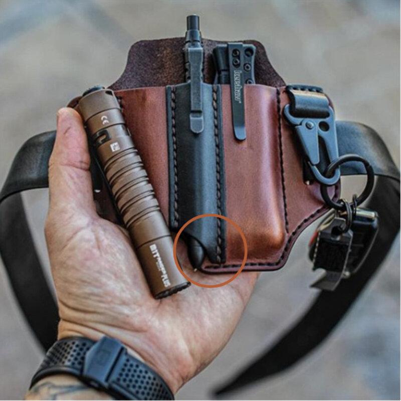 EDC Genuine Leather Multitool Flashlight Belt Sheath With Keychain