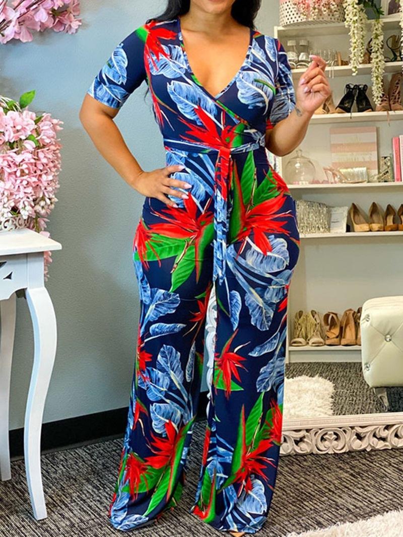 Ericdress Full Length Print Casual Slim Mid Waist Jumpsuit