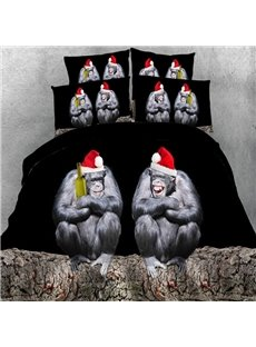 Naughty Orangutan with Christmas Hat Print 5-Piece Comforter Sets