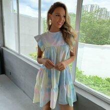 Kleid mit Ruesche am Armloch und Batik